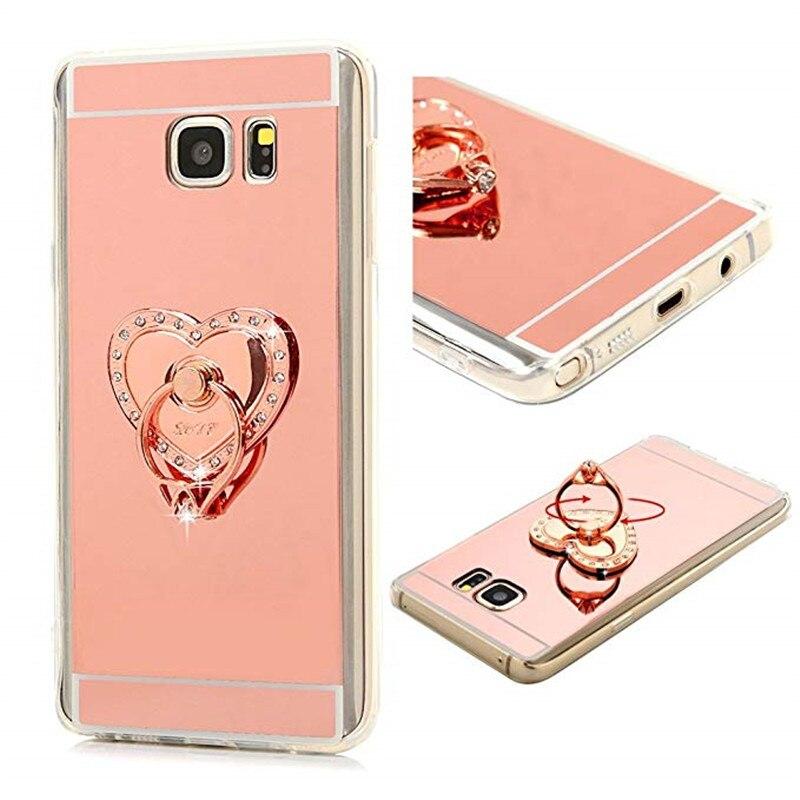 Dote Me Moda Bling Diamante Amor Coração Do Anel de Aperto Suave Espelho Da Tampa Do Caso Para Samsung Galaxy Note 9 8 5 4 3 S9/8/7/6 Borda Mais