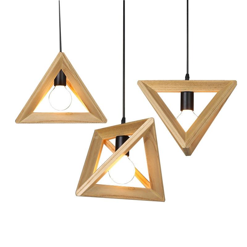 مصباح معلق LED على شكل مثلث من الخشب الصلب بتصميم إسكندنافي حديث ، مثالي للدور العلوي أو المطبخ أو بجانب السرير.