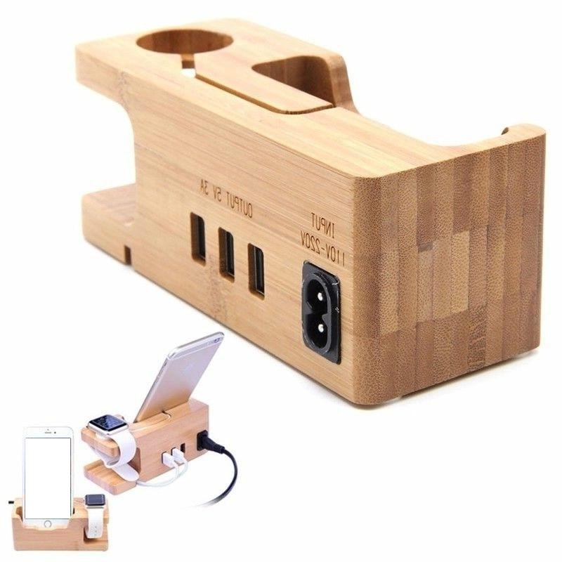 Wooden Mobile Phone Holder Porous Usb Charging Bracket Bamboo Universal Charging Dock For Smart Phones