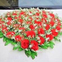 Décorations de voiture pour mariage   Roses artificielles en soie, fournitures de fête, décoration de noël pour anniversaire à domicile Rose rouge blanc