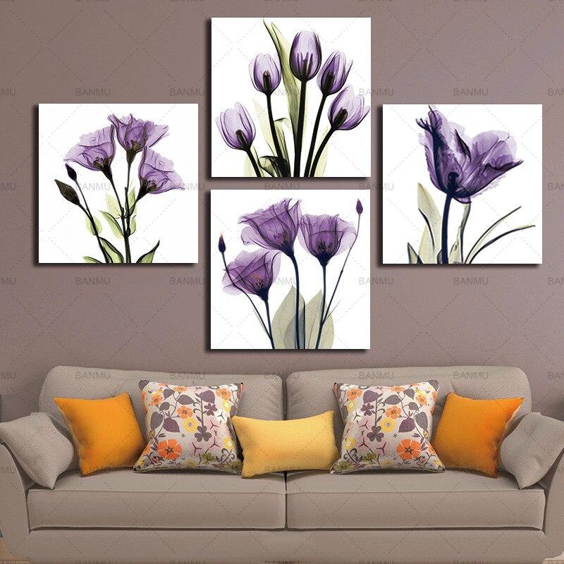 Leinwanddruck Wandkunst Malerei BANMU 4 Panel Elegante Tulip Lila Blume Für Wohnzimmer Dekor Und Moderne Einrichtungsgegenstände