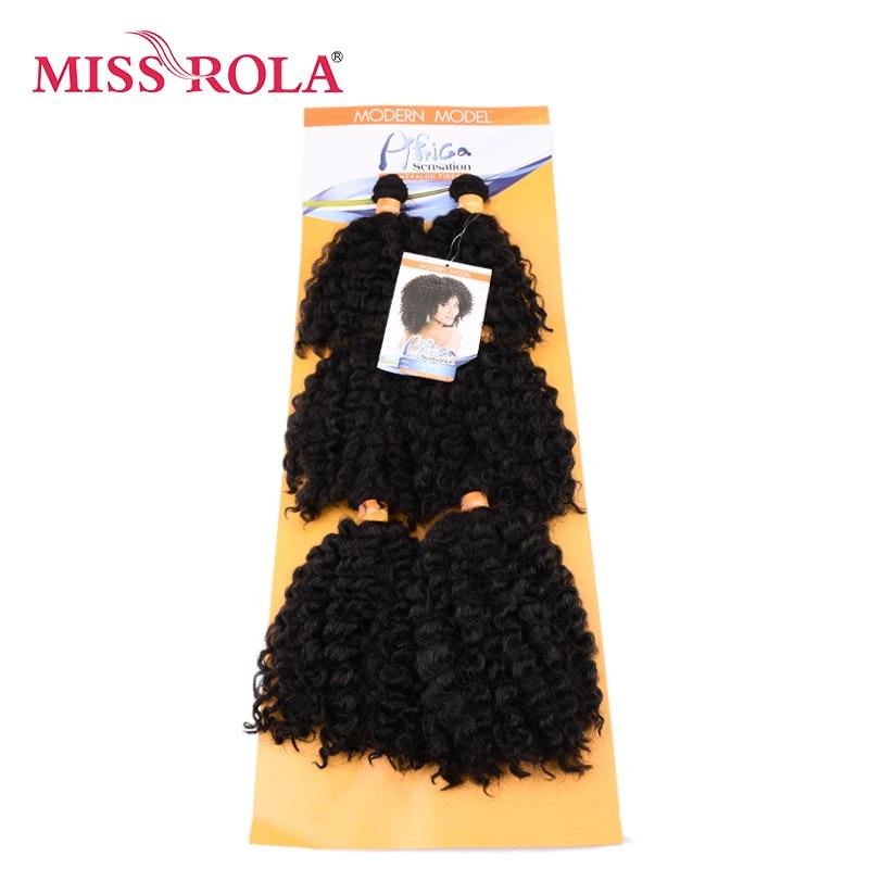 Miss Rola ondulado corto pelo con trama doble de la armadura 100% Kanekalon fibra sintética extensiones de cabello 6 unids/lote