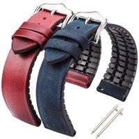 Ремешок HENGRC из воловьей кожи и силикона для мужских и женских часов, Водонепроницаемый Воздухопроницаемый браслет для наручных часов, аксе...