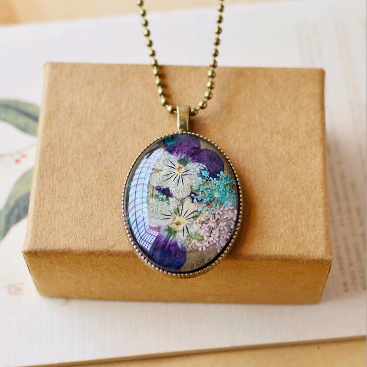Hot FOMALHAUT Hand-painted pansy flowers time gem Necklace Long Strip Pendant Necklaces Women Jewelry SX-94