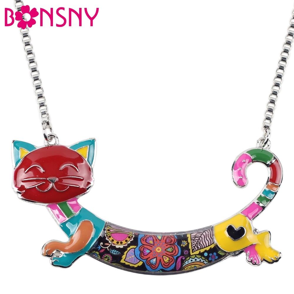 Bonsny Declaración Maxi Gato Del Esmalte de la Aleación Gargantilla Collar Cadena Colgante Collar 2017 de La Nueva Manera Del Esmalte de La Joyería de Las Mujeres