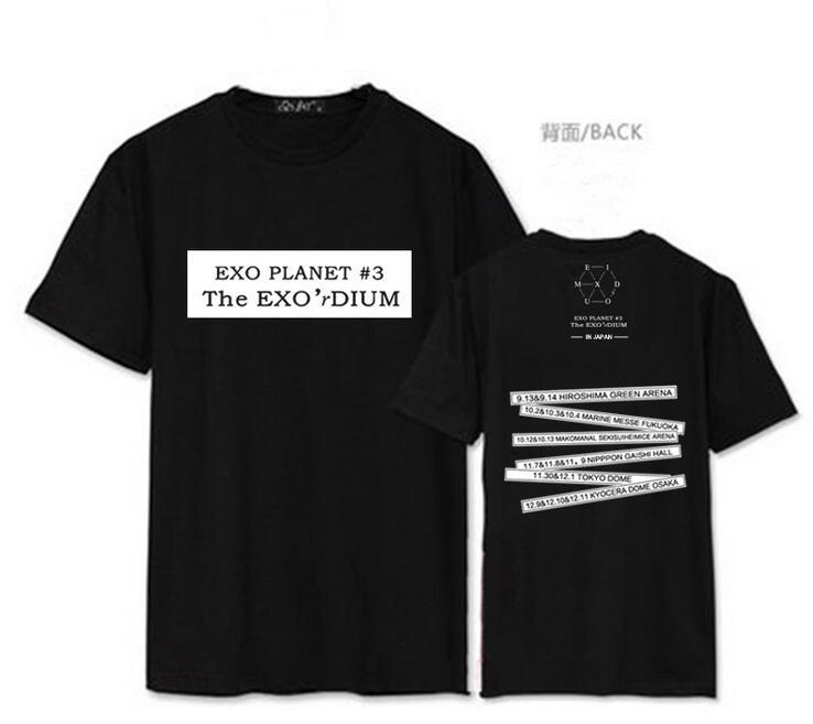 Camiseta de manga corta de estilo veraniego, camiseta de concierto de apoyo de fans de kpop, camiseta de planeta exo con la misma impresión de baekhyun