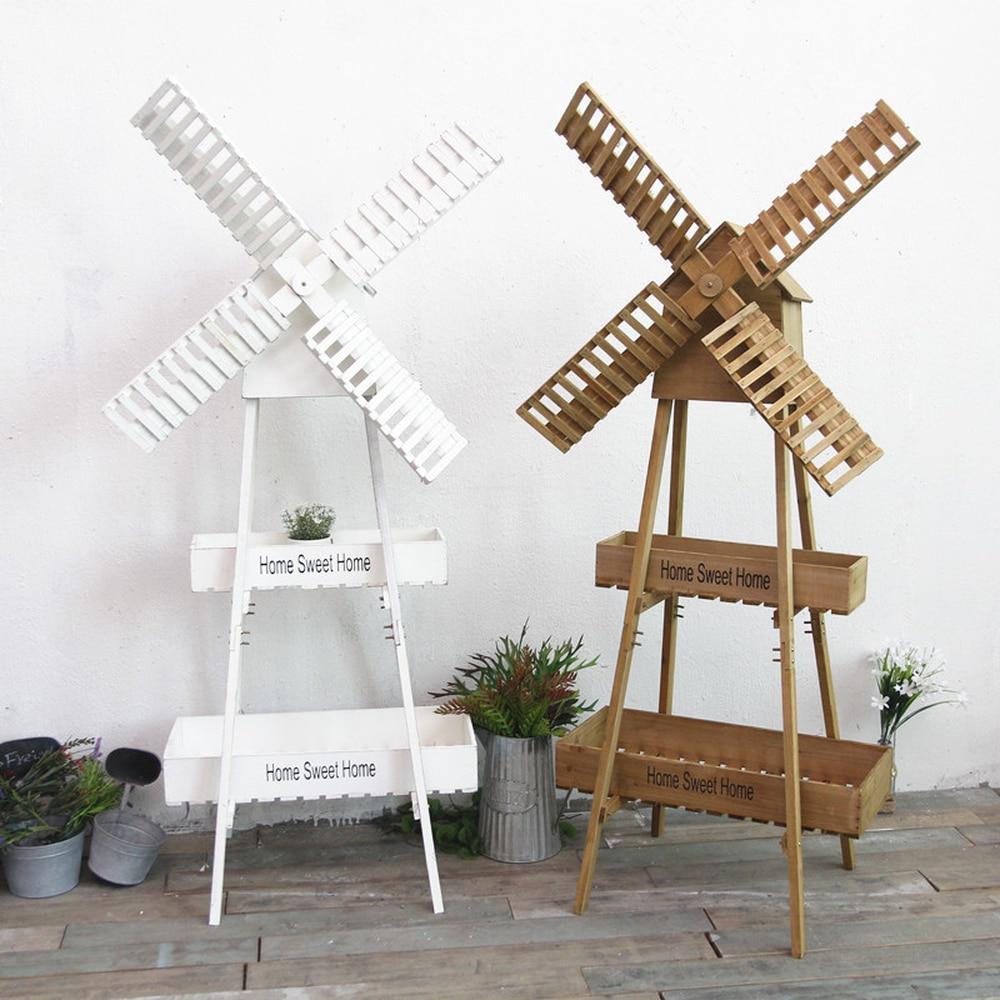 Casier à fleurs en bois multi-couches   De style pays américain, ancien support de fleurs, moulin à vent, pour salon, balcon, casiers à viande, décoration de café lo813426