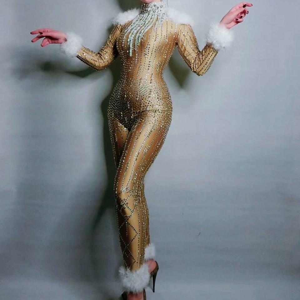 النساء الذهب الراين ريشة بذلة أداء الزي الإناث المغني طماق ملابس رقص مرحلة ارتداءها مهرجان الملابس