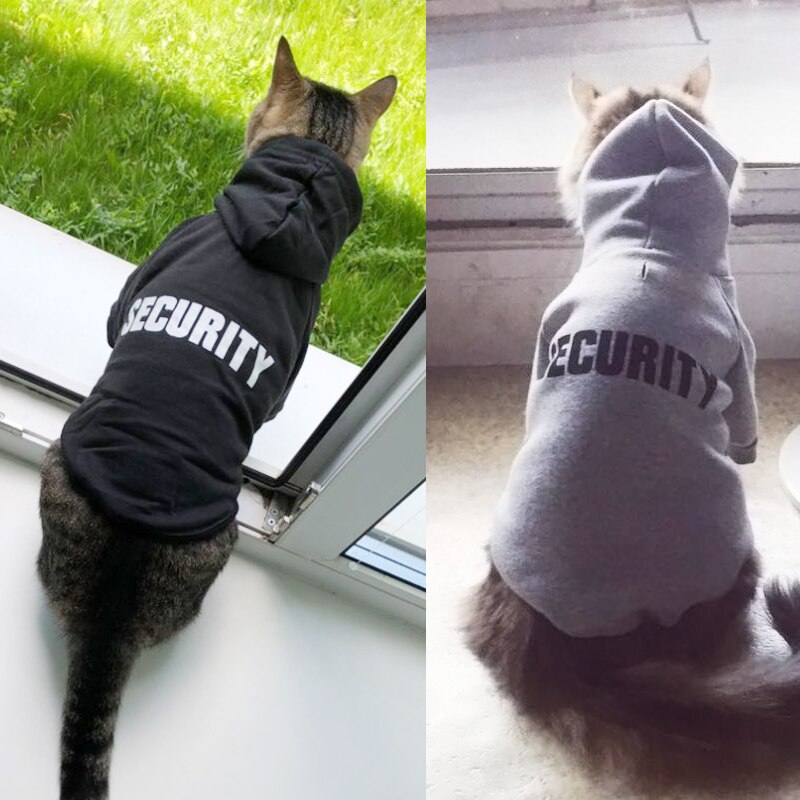 Security Cat Clothes Pet Cat Coats Jacket Hoodies For Cats Outfit Warm Pet Clothing Rabbit Animals P