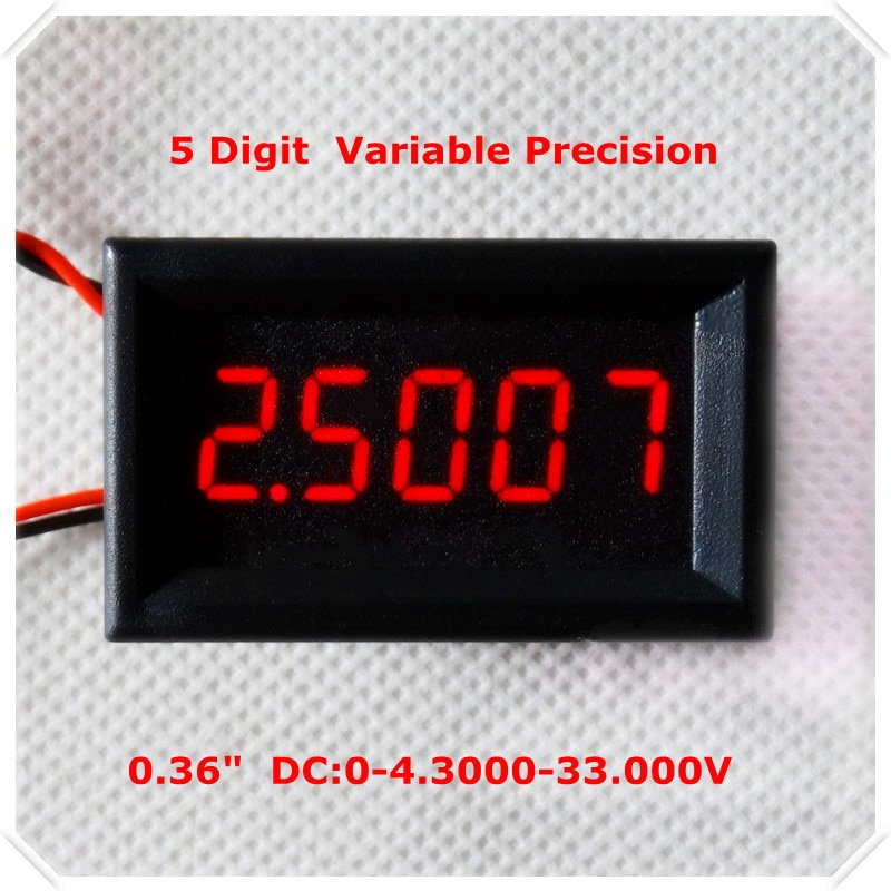 "RD 4 Wires  0.36"" Variable Precision DC 0-33 V Digital Voltmeter voltage panel meter led display  Color [ 4 pieces / lot]"