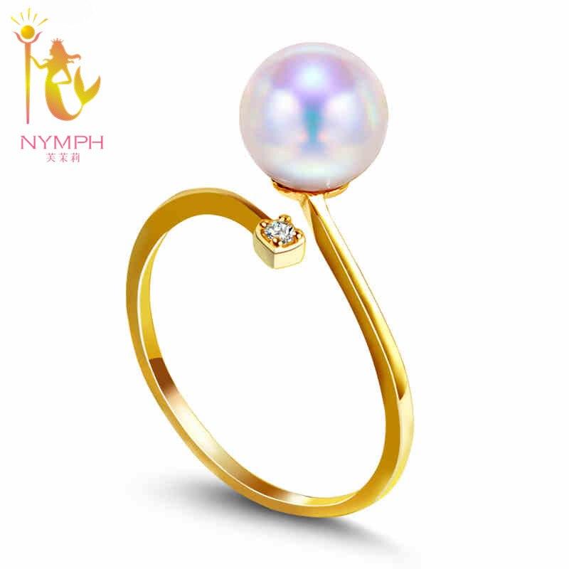 Anillo alianzas de boda de oro amarillo de 18K de NYMPH, anillo de perlas naturales de agua dulce redondas de 8-9mm, joyería fina, regalo clásico para mujeres R002