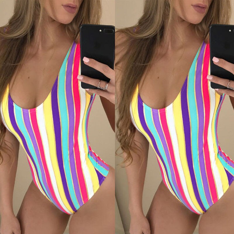 Um Pedaço Swimsuit 2017 Verão Swim Wear Rainbow Beach Wear Bandage Monokini Maiô Swimwear Sexy Mulheres Bodysuit Maiô