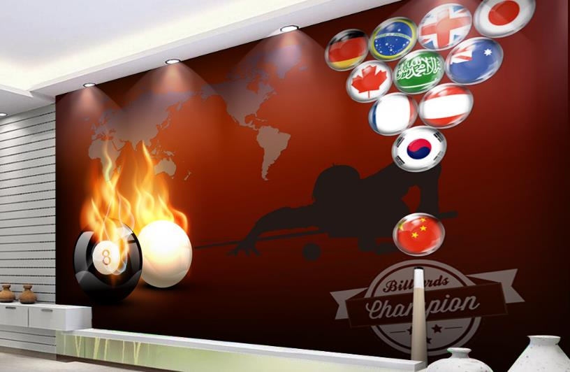 photo wallpaper Customize 3D Murals Wallpaper Flame billiard wallpaper for walls 3 d Living room bedroom
