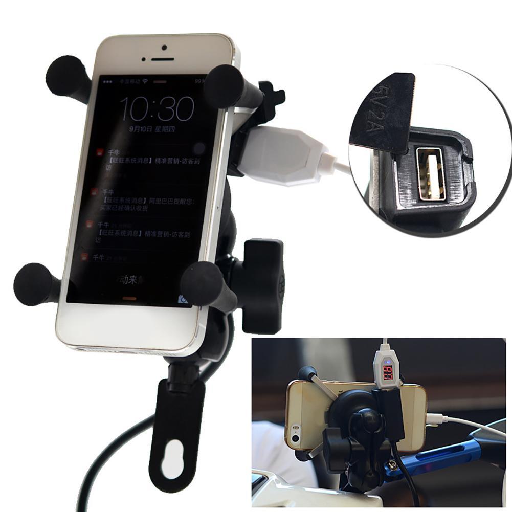 X Grip RAM Motorcycle Motorbike Mount Mobile Phone Holder Bracket USB Charger Bicycle Universal Phone Holder