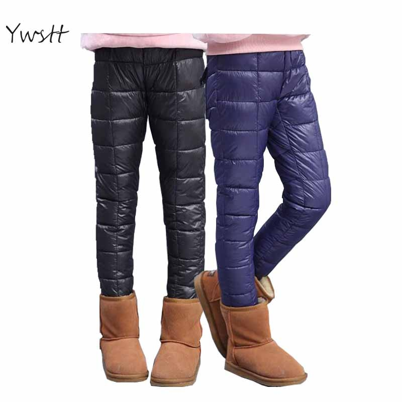 Ywstt, pantalones impermeables de invierno para niños, Leggings para niñas, pantalones de bota cálidos con plumón de pato, pantalones de chándal para niñas, Leggings largos cálidos