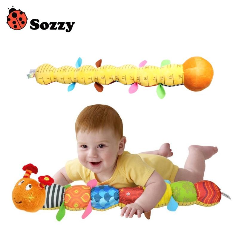 Genuíno autorizado sozzy bonito brinquedo do bebê material musical caterpillar com anel sino animal de pelúcia boneca criativa cedo educacional