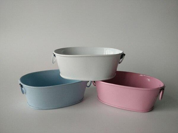 30 unids/lote D10XH4CM ollas para huevo de Pascua Blanco/azul/rosa Baby shower favor titular Metal macetas Mini macetas de suculentas pequeño lavabo