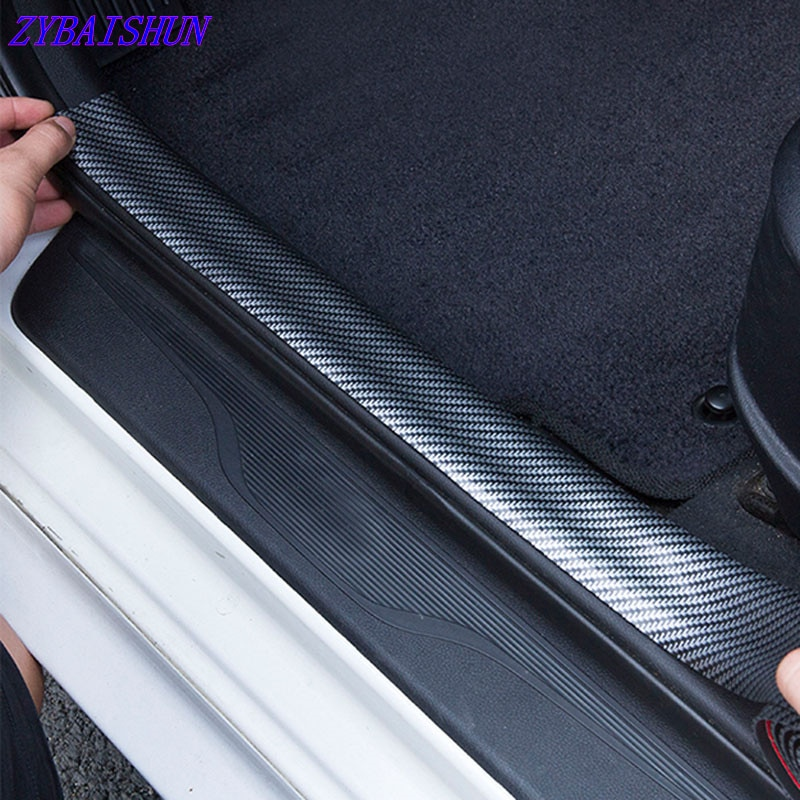 Pegatina de coche de goma estiloso 5D fibra de carbono protector de alféizar de puerta cubierta parachoques adhesivo accesorios de coche para Mitsubishi Subaru Mini