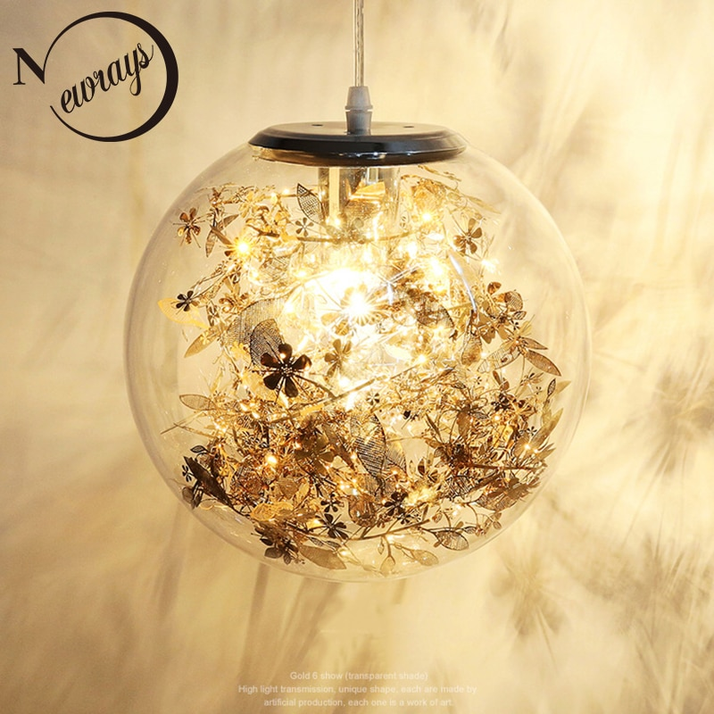 Bola de cristal creativa moderna flor colgante luz LED E27 4 colores loft lámpara colgante nórdica para sala de estar dormitorio cocina café