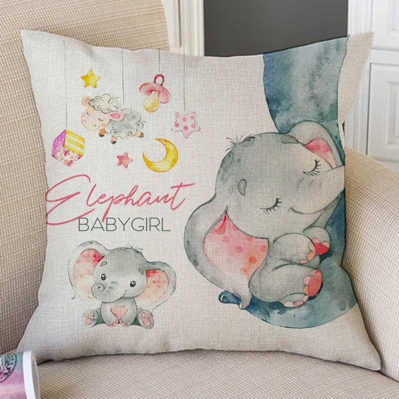 Aquarel Baby Elepahnt Giraffe Koala Bunny Cartoon Schilderen Kinderen Babykamer Decoratieve Kussensloop Leuke Linnen Kussenhoes