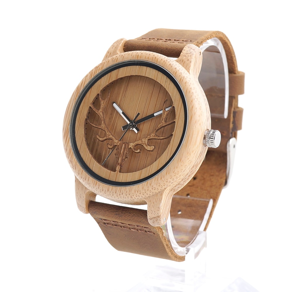 BOBO BIRD A27 reloj con motivo de cabeza de ciervo calavera diseño de bambú madera relojes Quartz con correa de piel blanca real en caja reloj de pulsera