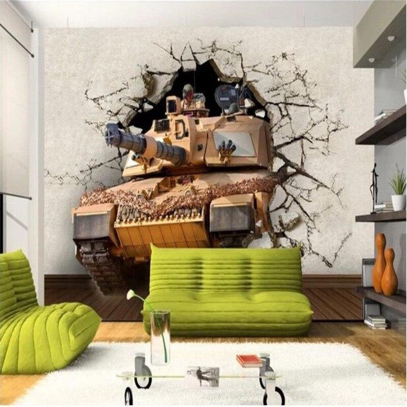 Papel pintado de foto personalizado Beibehang tanque militar 3D sala de estar dormitorio TV papeles tapiz decoración del hogar papel tapiz para paredes 3 d