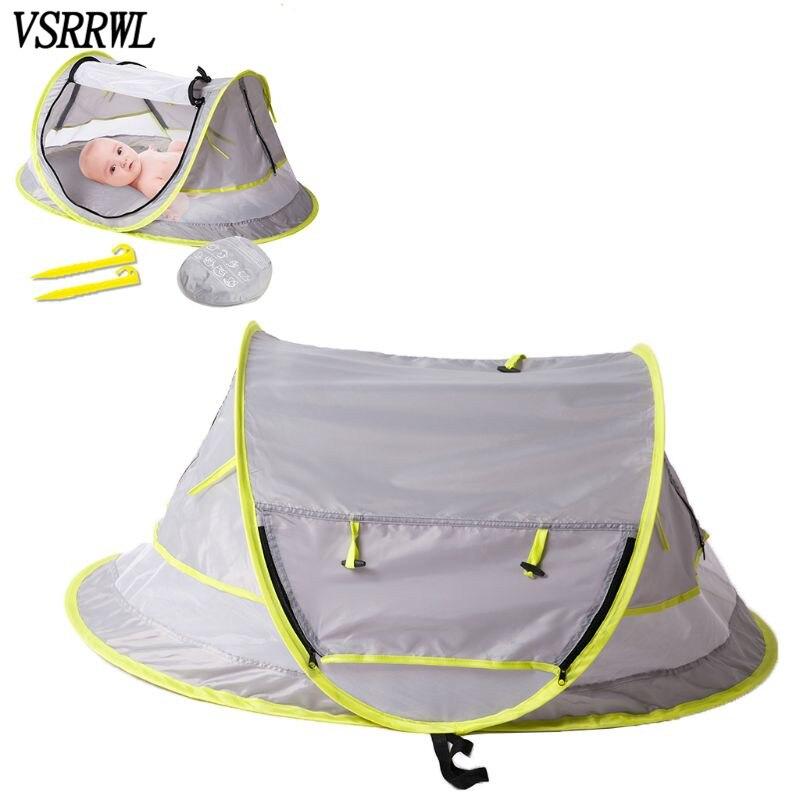 Cama de viaje portátil para bebés, tienda de playa, 50 + refugio solar, mosquitera y 2 clavijas