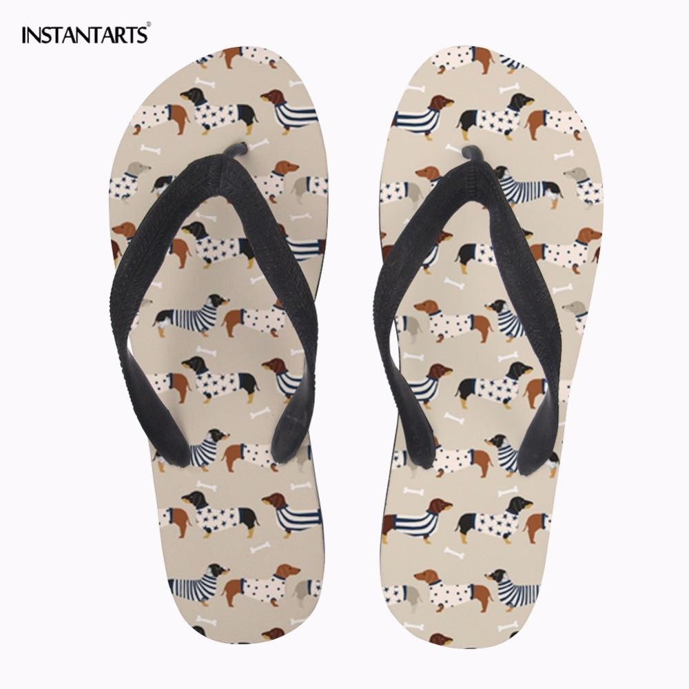 INSTANTARTS 2018 New Women Casual Summer Water Beach Slippers Shoes Cute Animal Dog Dachshund Dog Print Home Non-slip Flip Flops