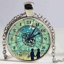 Nouveauté 2015 mode Cabochon bijoux Vintage tour de cou Antique bronze alliage galaxie inverse horloge colliers pour femmes hommes