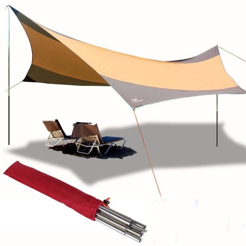 550*560cm postes de hierro UV tienda de playa refugio solar Arbor plegable toldo a prueba de lluvia balcón Camping tienda toldo viaje sombrilla lona