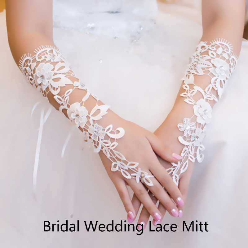White Long Lace Women Bridal Bride Fingerless Gloves with Crystal Rhinestone Wedding Dress Glove Accessories guanti da sposa