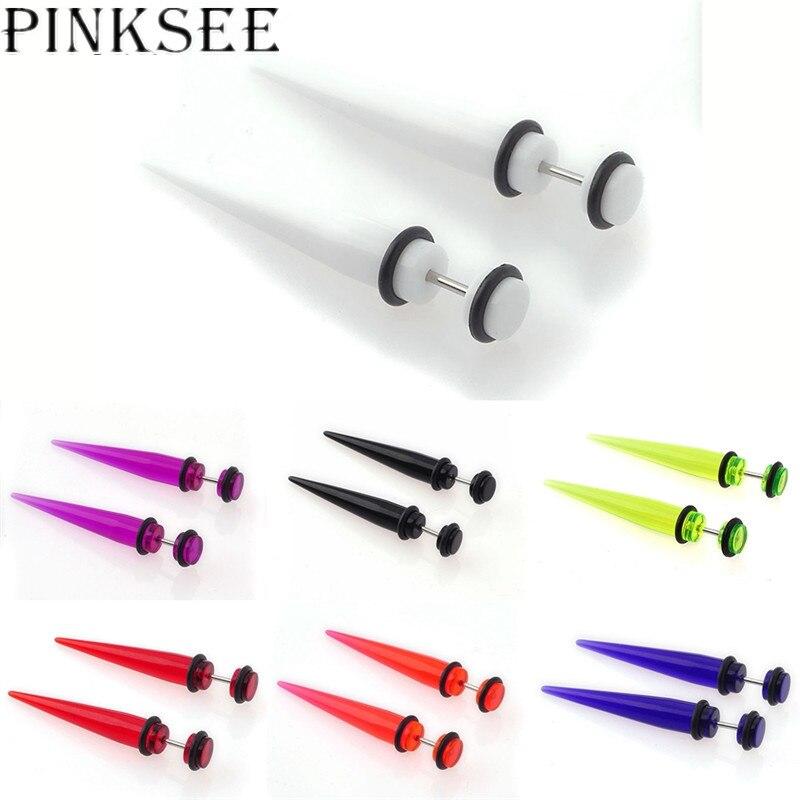 PINKSEE 2 Pcs Multi Cores Acrílico Em Forma de Cone Do Punk Simples Brincos Barbell Piercing No Umbigo Jóia Do Corpo Do Parafuso Prisioneiro para Homens mulheres