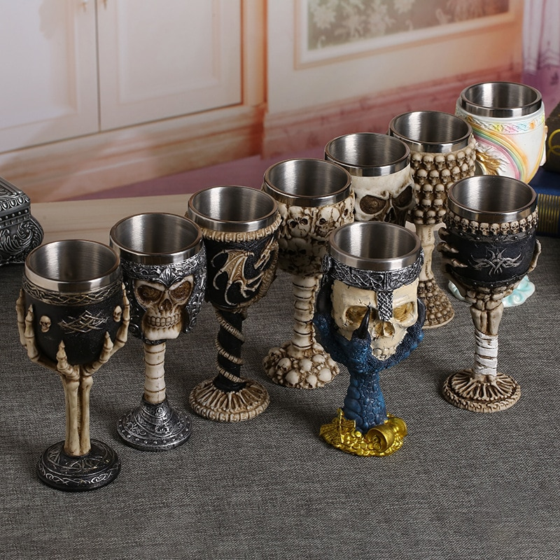 Enfriador de resina cáliz de calavera de acero inoxidable Retro garra copa de vino gótico cóctel gafas Lobo whisky Copa fiesta Bar Drinkware
