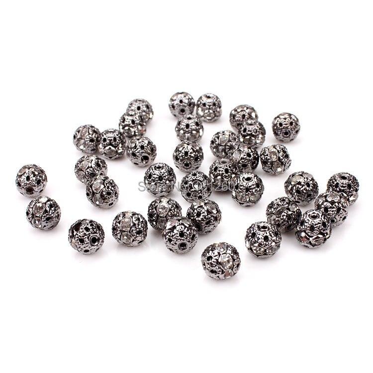 100 unids/lote 8MM espaciador de cristal de color negro metálico cuentas plateadas sueltas bolas de metal