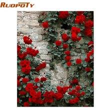 RUOPOTY-peinture à fleurs de Rose   Peinture principale par numéros, calligraphie romantique, Art mural moderne, coloriage dimages avec numéros pour maison