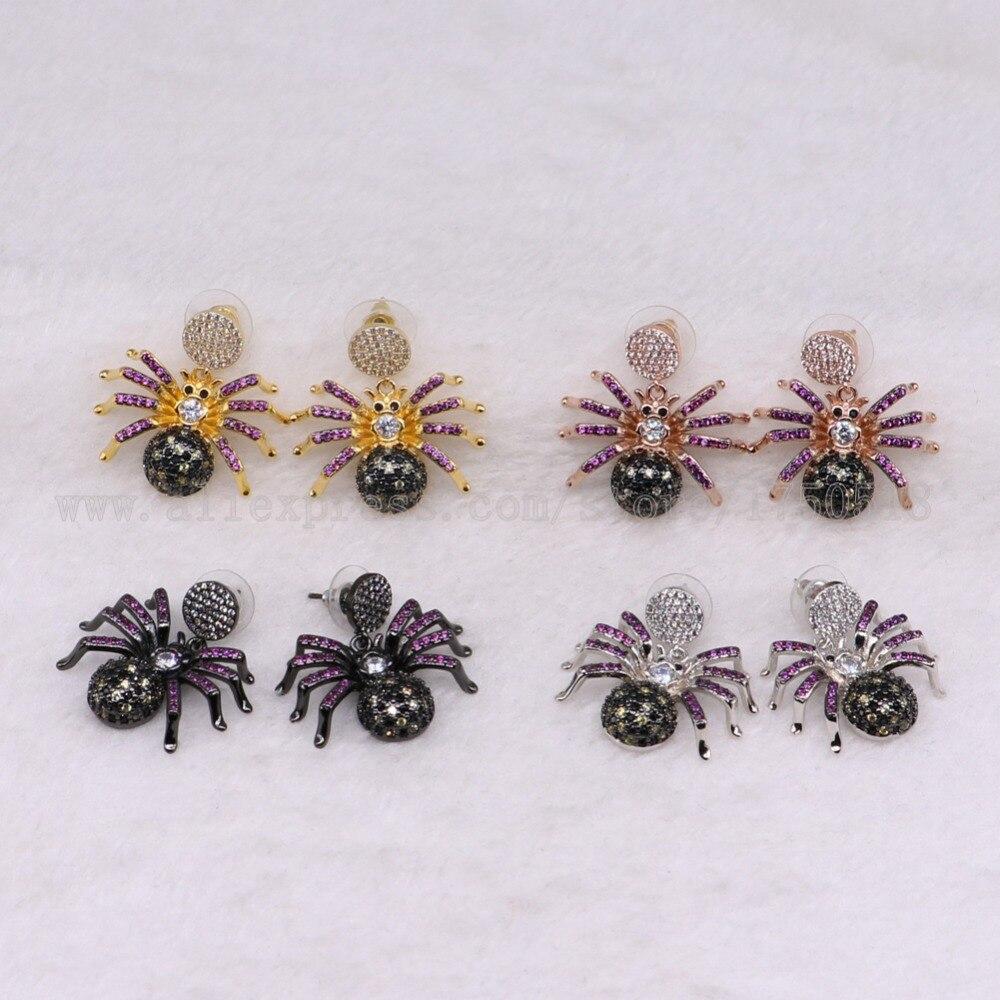 3 pares de pendientes de araña venenosa, insectos coloridos, abeja voladora, regalo de alta calidad para mujer, pendientes de insectos, pendientes de joyería 3239