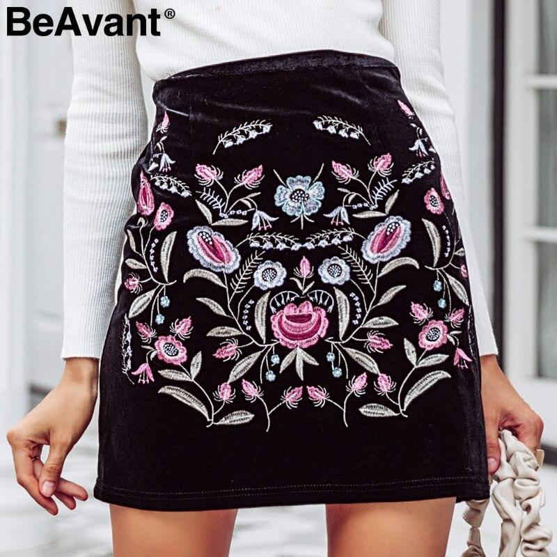 BeAvant Embroidery high waist skirts womens bottom Elastic bodycon pencil short skirt female Vintage mini winter skirt 2018