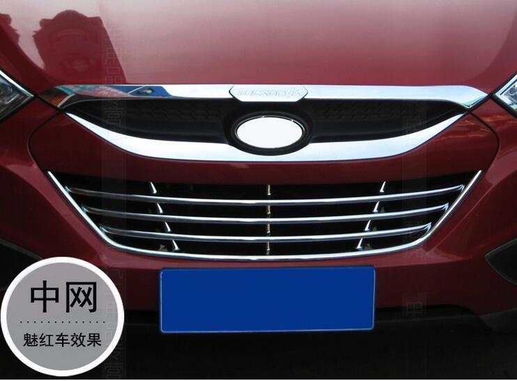 Para Hyundai Tuson IX35 Tucson 2010 2011 2012 2013 ABS cromado rejilla central delantera parrilla cubierta embellecedora