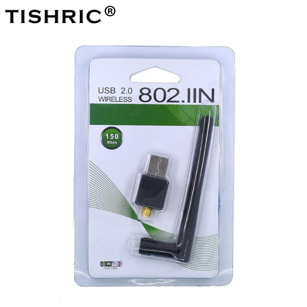 Tishric 150 mbps sem fio wifi adaptador dongle rede lan cartão 802.11n/g/b usb ethernet wi-fi receptor para windows mac vista linux