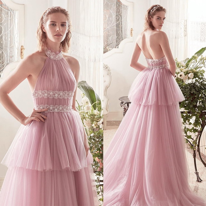 Verngo Pink Tulle A Line Wedding Dress Sleeveless Tiered Wedding Gowns 2019 Beach Bride Dress Boho Wedding Dress Gelinlik