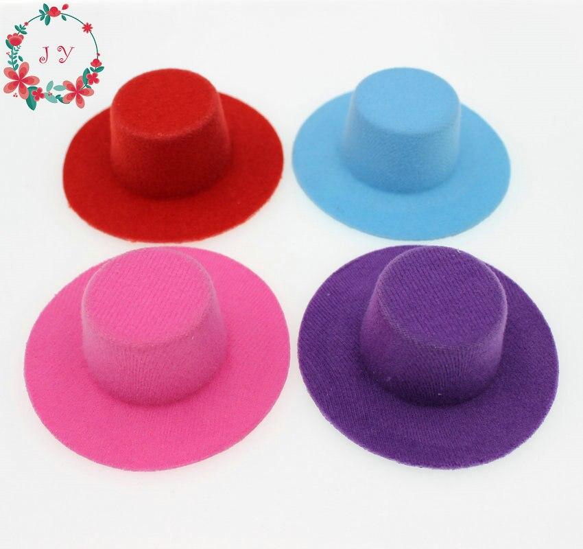 8 unids/lote de despedida de soltera de fieltro corto de felpa Mini sombrero de copa Fascinator Base en blanco 8,5 cm Accesorios para el cabello de recién nacidos sombrero de fotografía