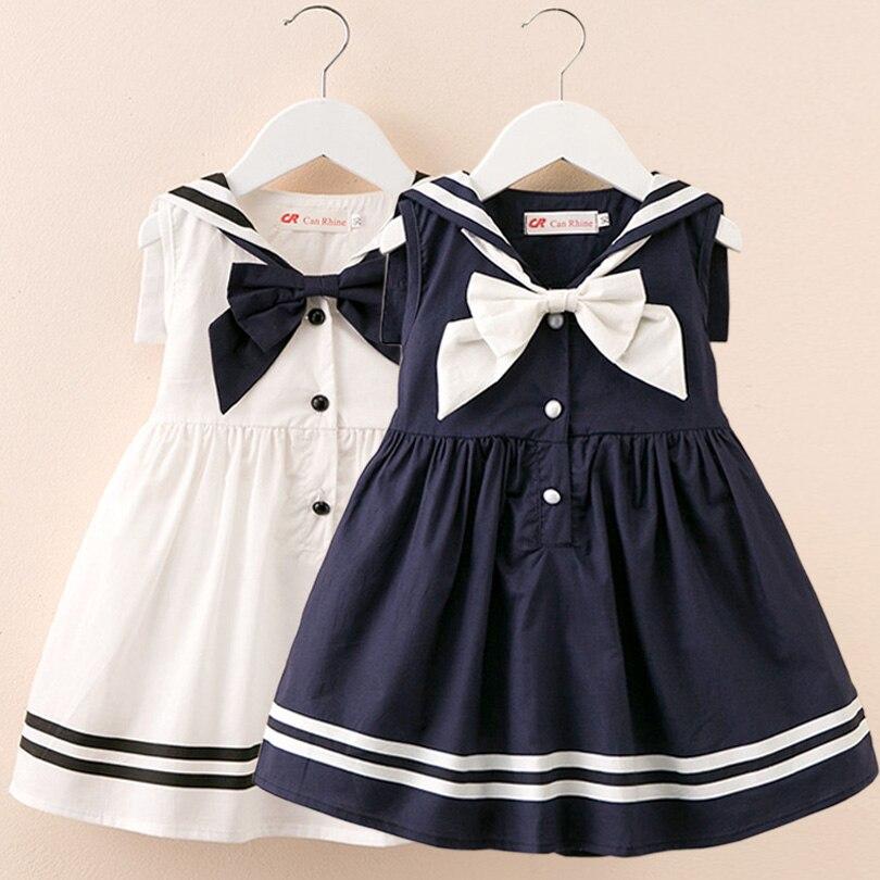 Vestidos de cuello marinero 2019 verano estilo Preppy vestido de niña bebé Niñas Ropa de algodón Niña bautizo vestido de bebé blanco