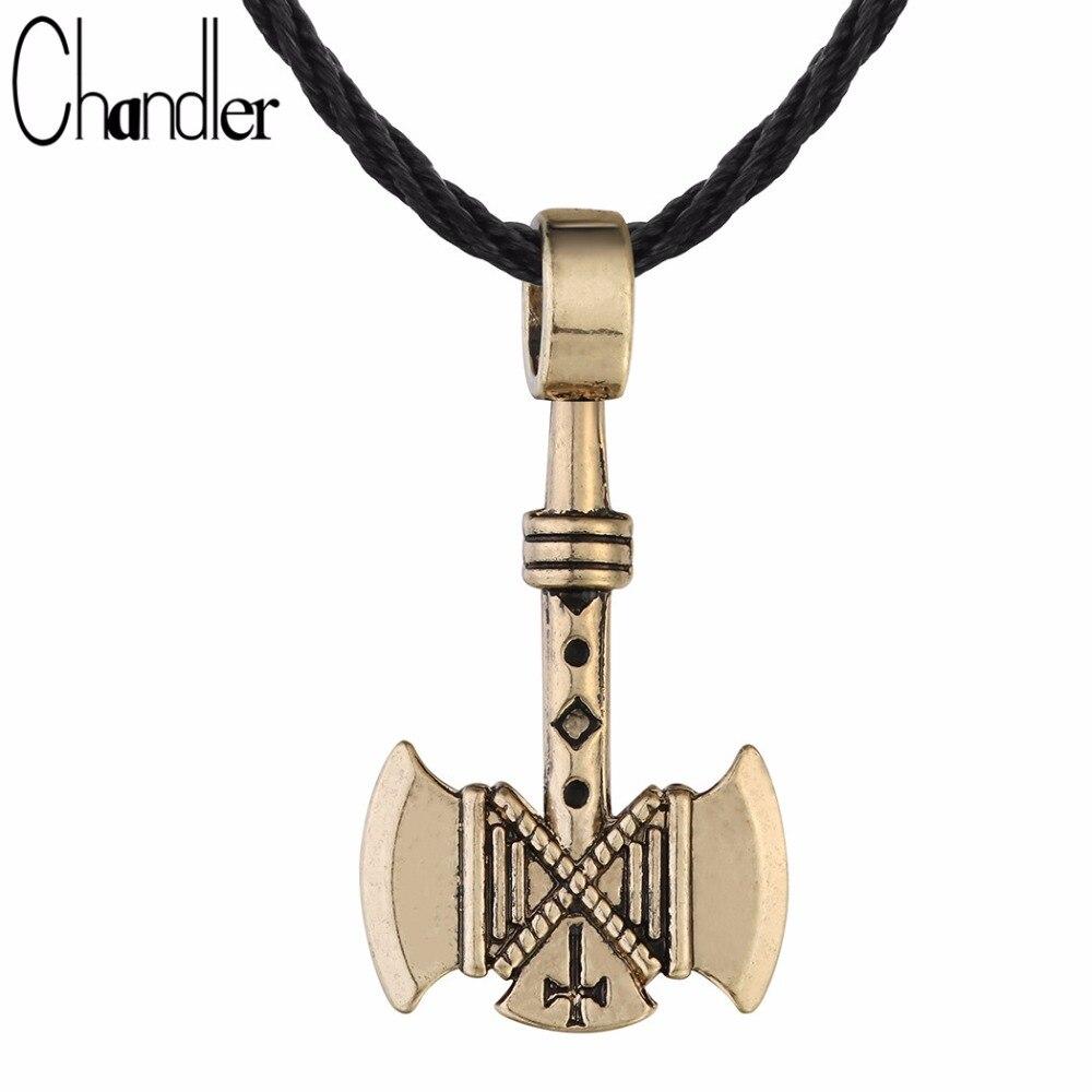 Chandler 1 Uds valknut vikingo collar de hacha para hombres hachas amuleto gótico Retro colgante pagano joyería vikinga al por mayor envío gratis