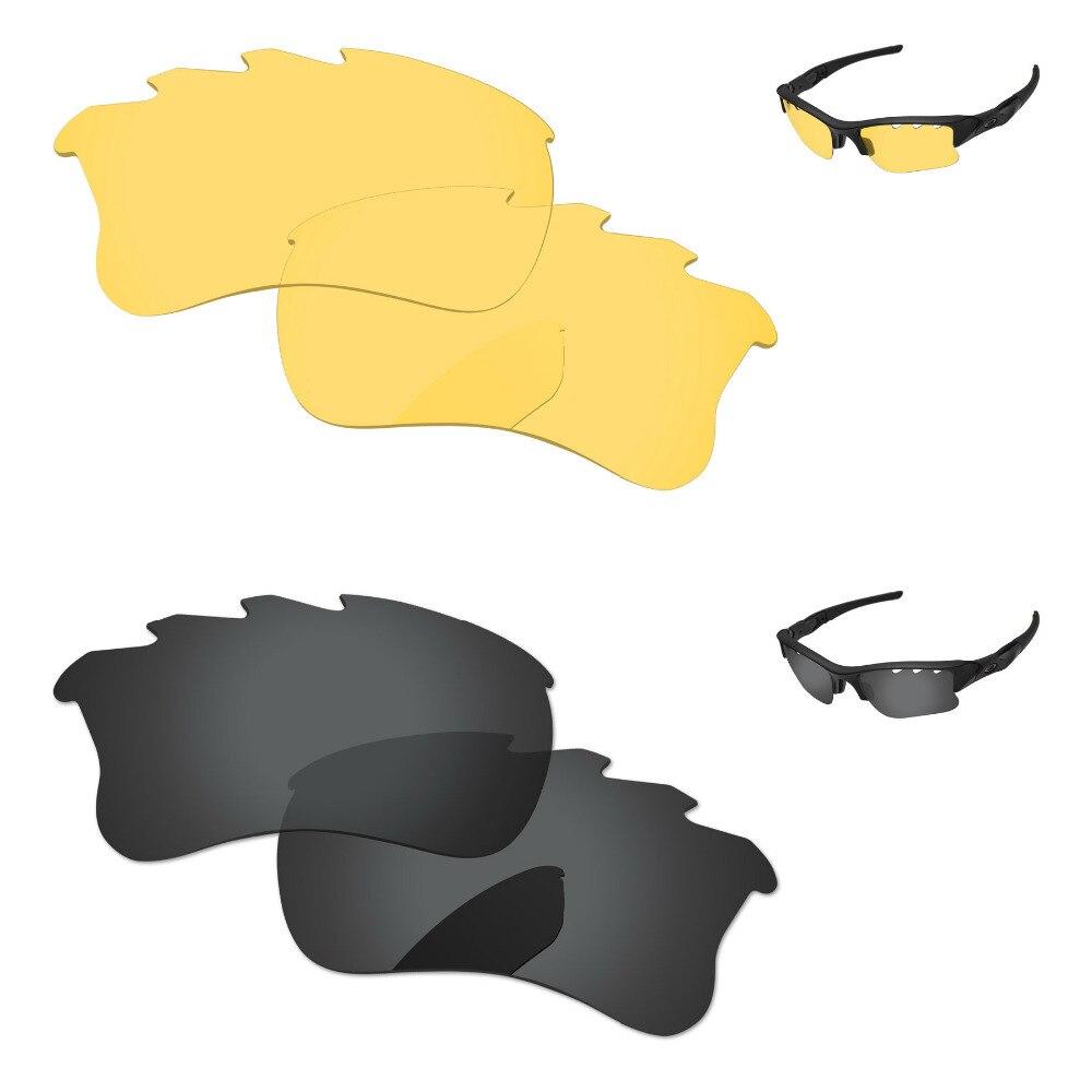 2 pares de lentes de repuesto negras y amarillas de cristal para chaqueta Flak XLJ gafas de sol con montura y ventilación 100% UVA y protección UVB