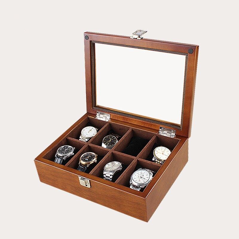 Caixa de Relógio de Madeira Organizadora de Relógio de Café Mecânico de Armazenamento Caixa de Madeira de Joias Caixa Novo Estojo Han 8