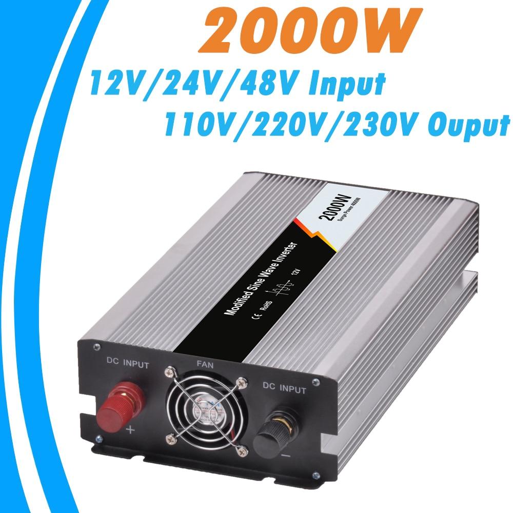 Inversor de conexión a red de onda sinusoidal modificada de 2000W opcional 12 V/24 V/48 V ENTRADA DE CC y 110 V/220 V AC diseño basado en microprocesador de salida