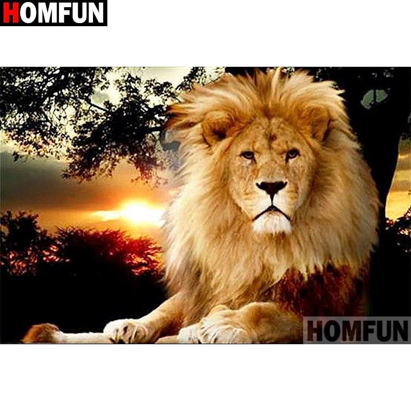 """HOMFUN Bordado Cheio de Diamantes """"Animal leão"""" Padrões Strass Diamante Pintura Ponto Cruz Unfinished Home Decor A13896"""