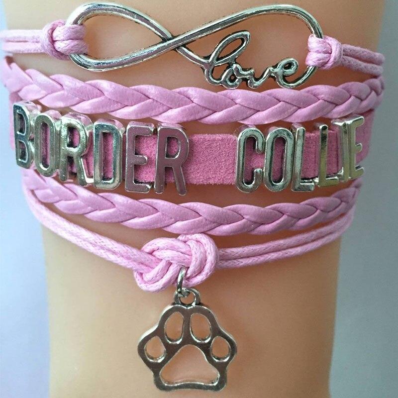 NCRHGL infinito amor borde COLLIE pulseras brazaletes animal amuleto de pata brazalete trenzado joyería para hombre mujer nueva gota de envío