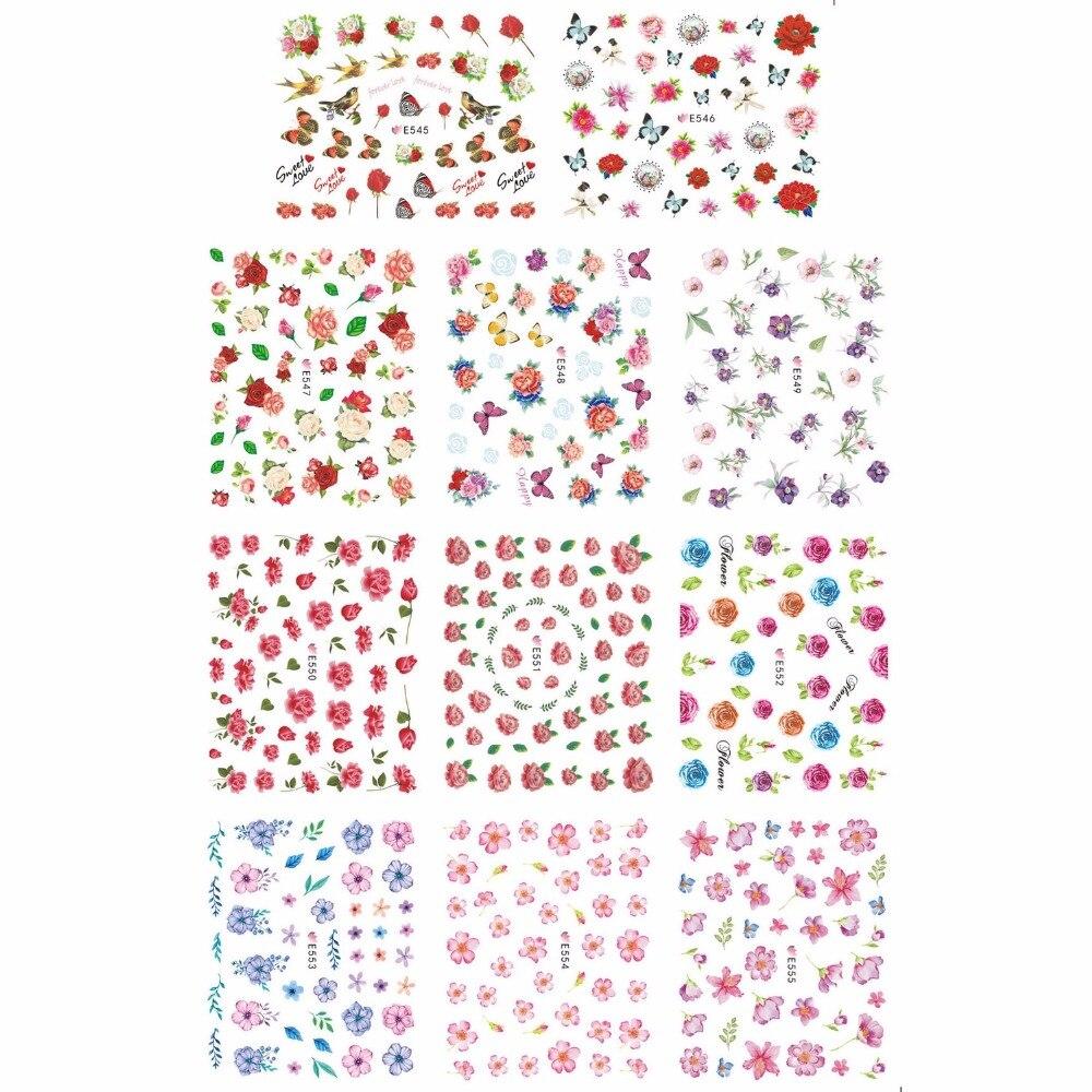 11 unids/lote autoadhesivo de simulación 3D tatuajes de uñas pegatina Flor Mariposa geranio MORNING-GLORY E545-555