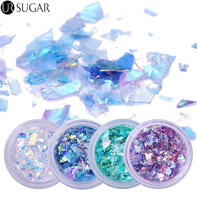 4Pcs Fluoreszierende Nagel Glitter Pailletten Set Glas Papier Unregelmäßigen Paillette Nail art Tipps Flakes Nail art Dekoration 3D für UV Gel